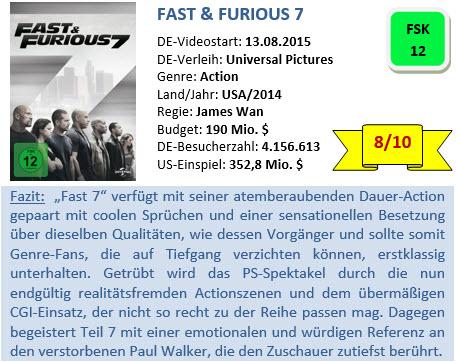 Fast & Furious 7 - Bewertung