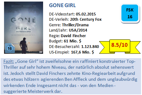 Gone Girl -  Bewertung