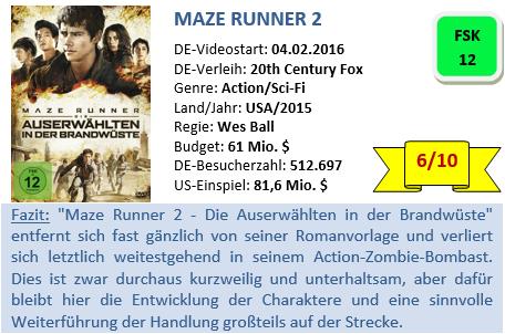Maze Runner 2 - Bewertung