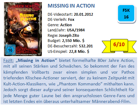 Missing in Action - Bewertung