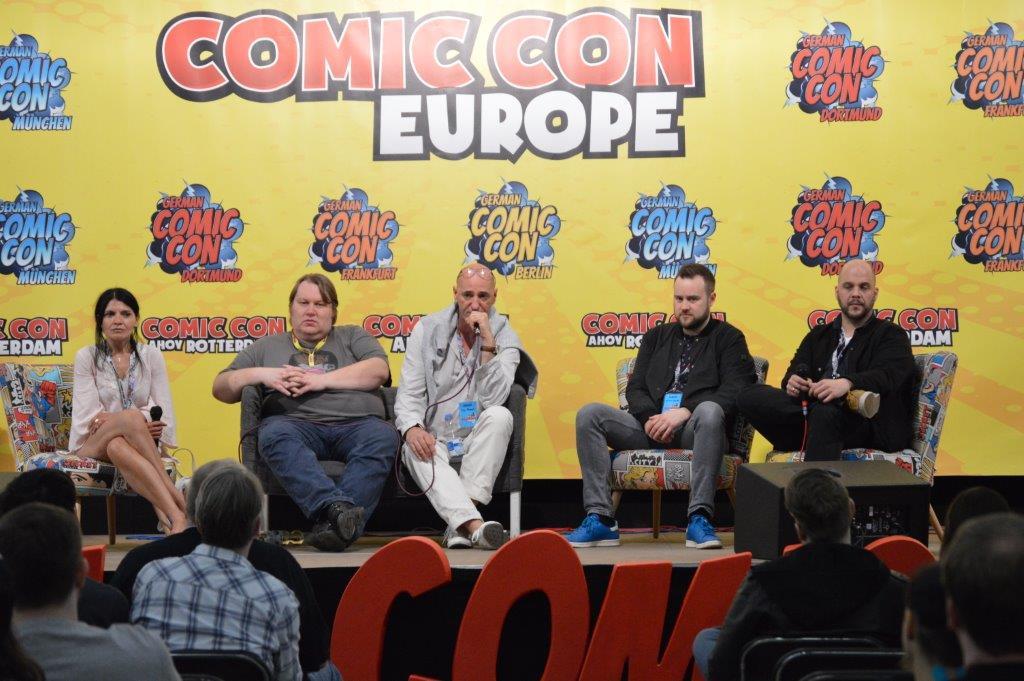 Synchron-Mania mit Ghadah Al-Akel, Moderator, Ingo Albrecht, Manuel Straube und Tobias Müller © Dominik Stark / GCC FFM 2018