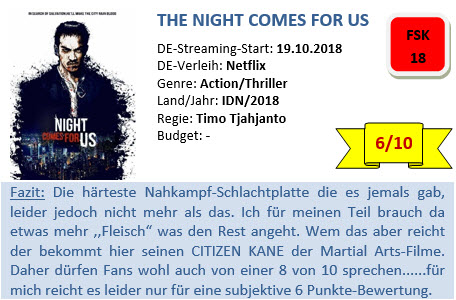 The Night Comes for us - Bewertung