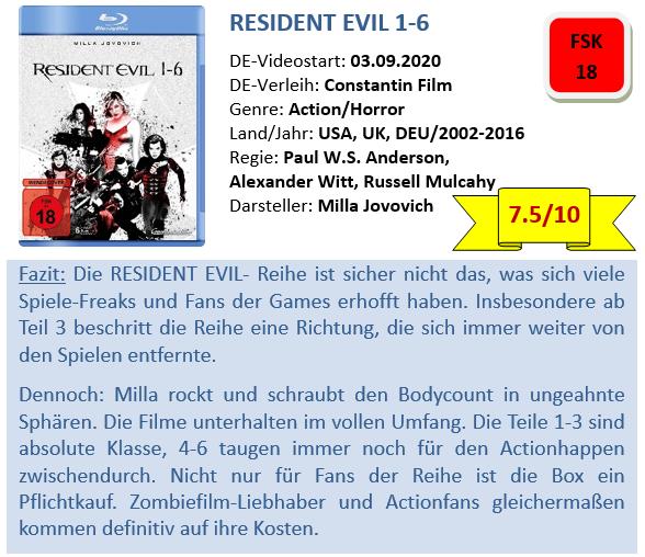 Resident Evil 1-6 - Bewertung