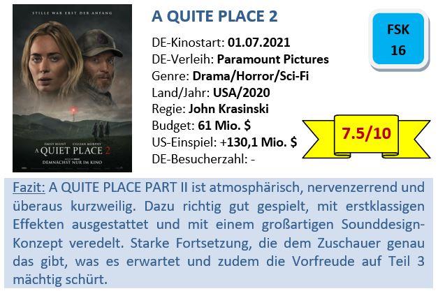 A Quite Place 2 - Bewertung